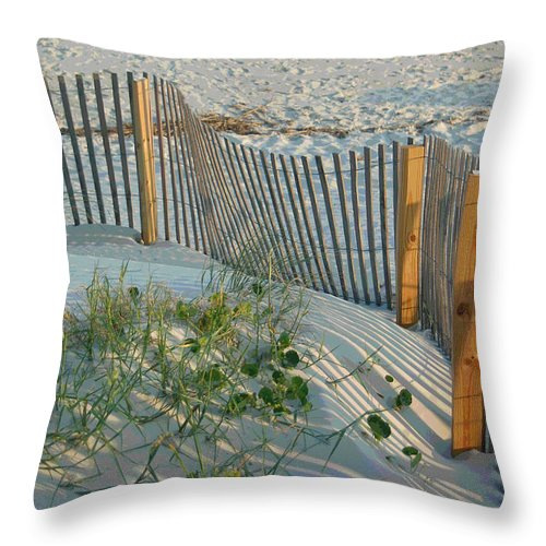 Sea Fence Throw Pillow featuring the photograph Dune Fence by Suzanne Gaff