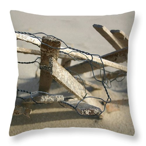 Seascape Throw Pillow featuring the photograph Dunefence by Mary Haber