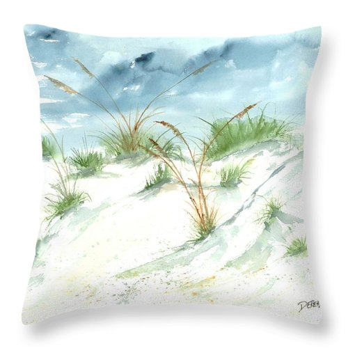 Beach Throw Pillow featuring the painting Dunes 3 Seascape Beach Painting Print by Derek Mccrea