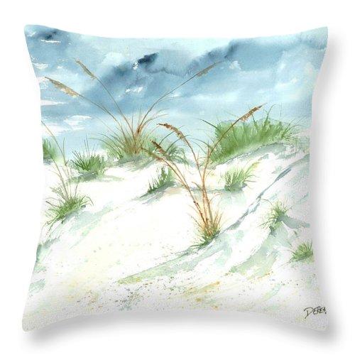 Beach Throw Pillow featuring the painting Dunes 3 seascape beach painting print by Derek Mccrea