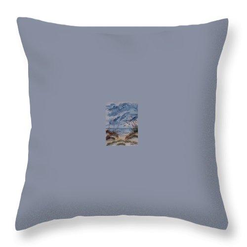 Watercolor Landscape Painting Seascape Beach Throw Pillow featuring the painting DUNES seascape fine art poster print seascape by Derek Mccrea