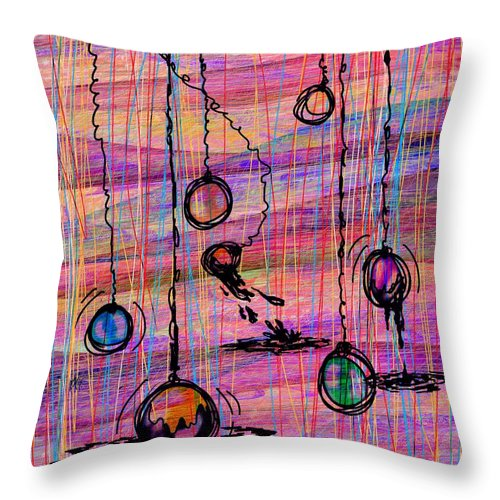Abstract Throw Pillow featuring the digital art Dunking Ornaments by Rachel Christine Nowicki