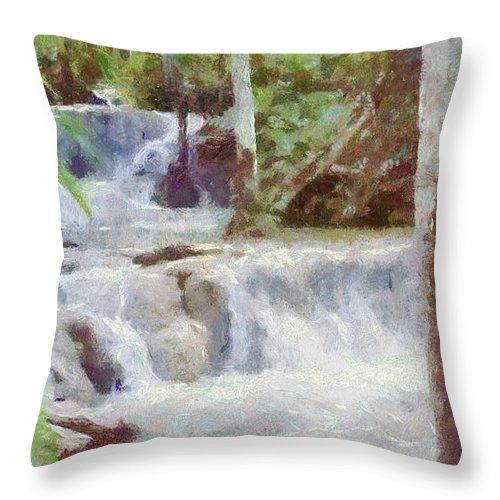 Dunn River Throw Pillow featuring the painting Dunn River Falls by Jeffrey Kolker