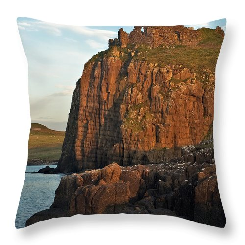Scotland Throw Pillow featuring the photograph Duntulm Castle by Colette Panaioti