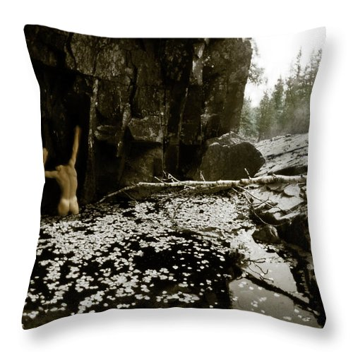 Leaves Throw Pillow featuring the photograph Duochrome Handpainted Nude In A Leaf Pool by Wayne King