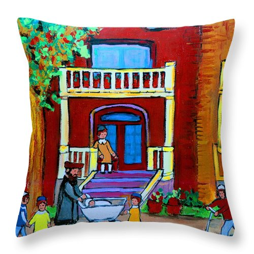 Judaica Throw Pillow featuring the painting Durocher Street Montreal by Carole Spandau