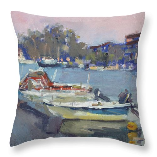 Dusk Throw Pillow featuring the painting Dusk At Chalkoutsi's Harbor Greece by Ylli Haruni