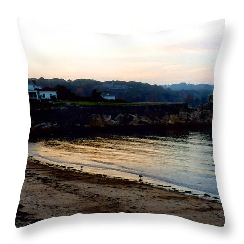 Seaside Throw Pillow featuring the painting Dusk At Rockport by Paul Sachtleben