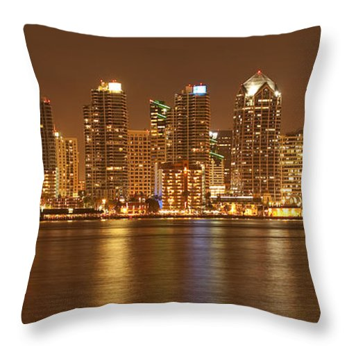 Panorama Throw Pillow featuring the photograph Dusk At San Diego Harbor by Sandra Bronstein