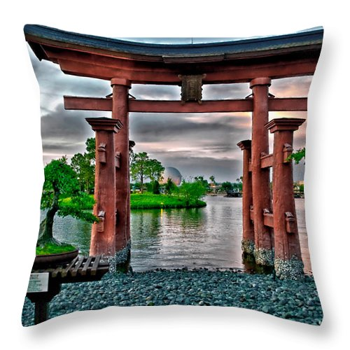 Epcot Throw Pillow featuring the photograph Dusk At World Showcase Lagoon Walt Disney World by Thomas Woolworth