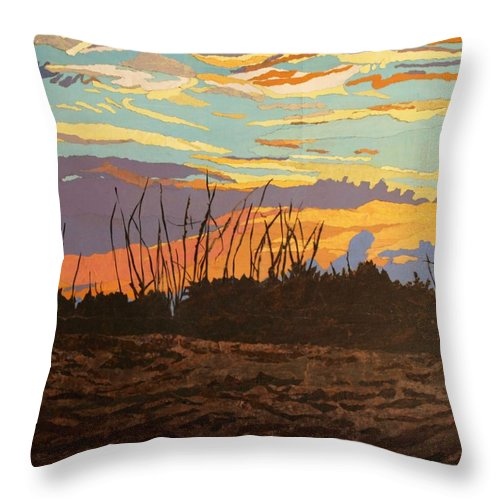 Sunset Throw Pillow featuring the painting Dusk Fishing, Hutchinson Island by Leah Tomaino
