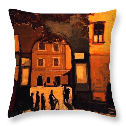 Cityscape Throw Pillow featuring the painting Dusk by Kurt Hausmann