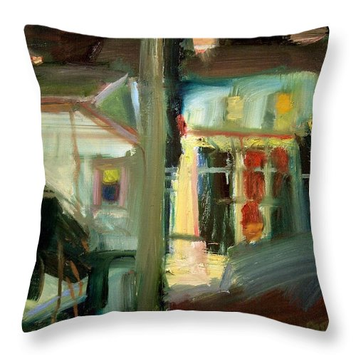 Dornberg Throw Pillow featuring the painting Dusk Light by Bob Dornberg