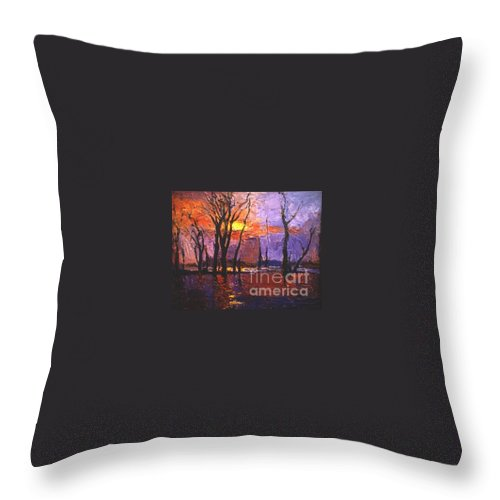 Dusk Throw Pillow featuring the painting Dusk by Meihua Lu