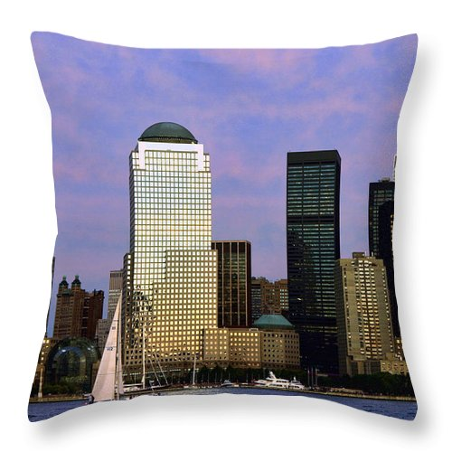 Architecture Throw Pillow featuring the photograph Dusk On Lower Manhattan by June Marie Sobrito