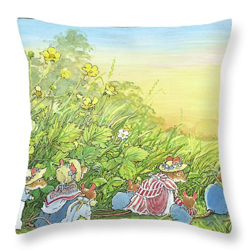 Brambly Hedge Throw Pillow featuring the drawing Dusk On The Wedding Day by Brambly Hedge