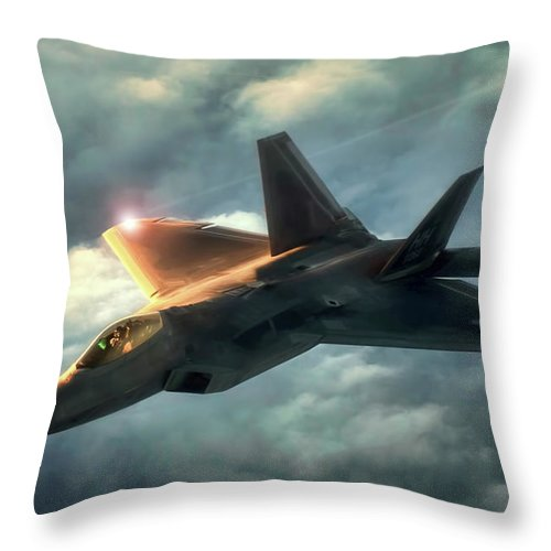 Aviation Throw Pillow featuring the digital art Dusk Raptor by Peter Chilelli
