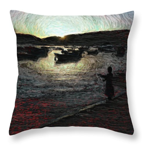 Dusk Throw Pillow featuring the photograph Dusky Harbor A La Van Gogh II by Dee Flouton