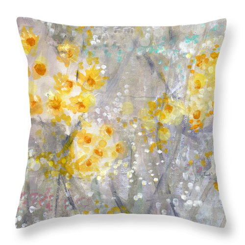 Flower Painting Throw Pillow featuring the painting Dusty Miller- Abstract Floral Painting by Linda Woods
