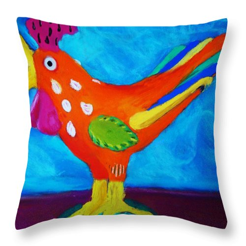 Bird Throw Pillow featuring the pastel Dusty's Chick by Melinda Etzold