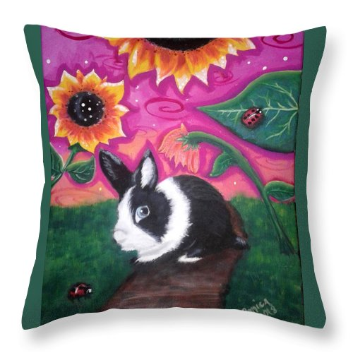 Dutch Bunny Throw Pillow featuring the painting Dutch Bunny at Dusk by Monica Resinger