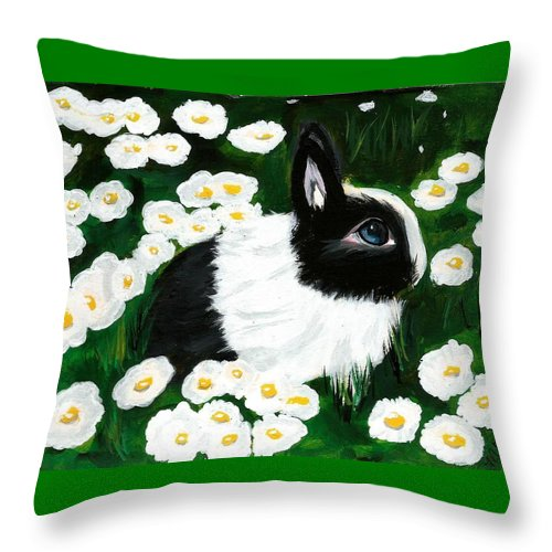 Dutch Bunny Daisies Acrylic Painting Black White Spring Easter Rabbit Impressionism Throw Pillow featuring the painting Dutch Bunny With Daisies by Monica Resinger