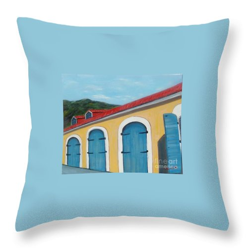 Doors Throw Pillow featuring the painting Dutch Doors Of St. Thomas by Laurie Morgan