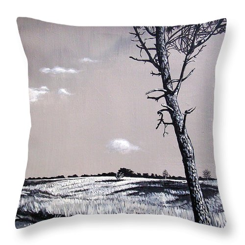 Duotone Throw Pillow featuring the painting Dutch Heathland by Arie Van der Wijst