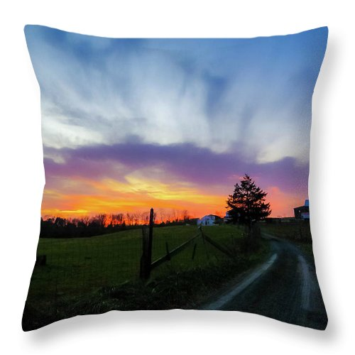 Beautiful Sky Throw Pillow featuring the photograph Dutch Lane In Evening Sky by Amy Bishop