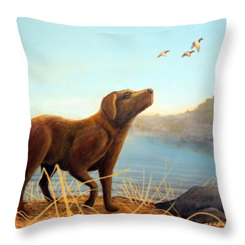 Chocolate Lab Painting Throw Pillow featuring the Dutch by Rick Huotari