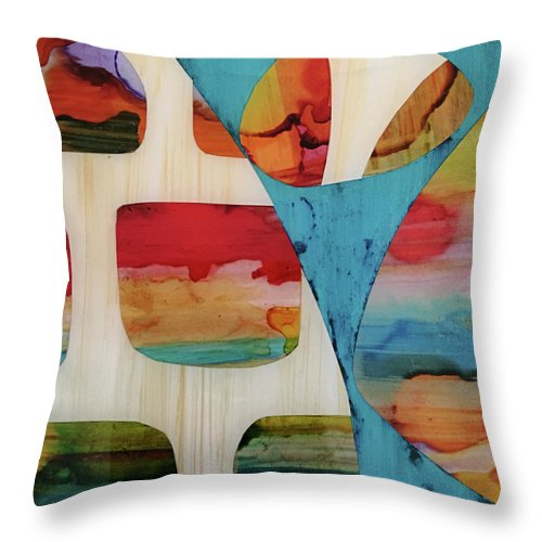 Alcohol Ink Throw Pillow featuring the mixed media Dvong #24 by Daniela von G