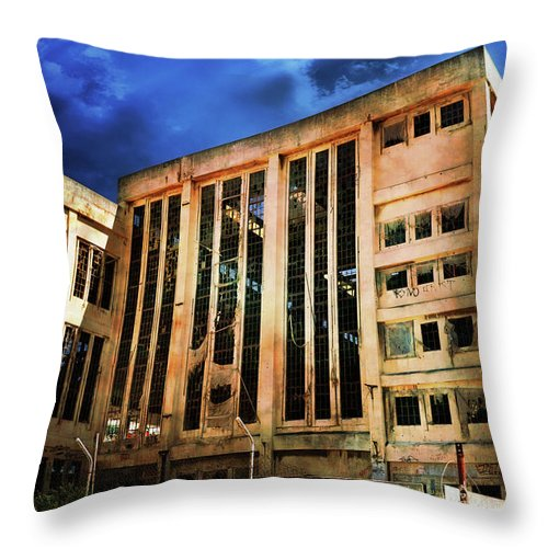 Building Throw Pillow featuring the photograph Dying Building by Phill Petrovic