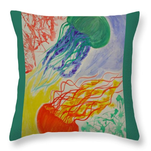 Jellyfish Throw Pillow featuring the painting Dynamic Drifters by Graciela Acosta