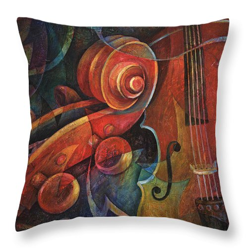 Susanne Clark Throw Pillow featuring the painting Dynamic Duo - Cello And Scroll by Susanne Clark
