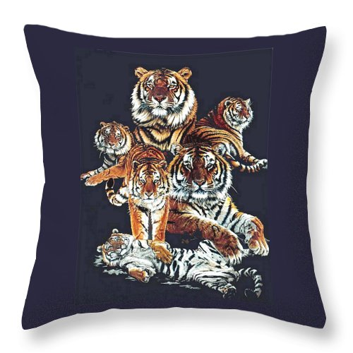 Tiger Throw Pillow featuring the drawing Dynasty by Barbara Keith