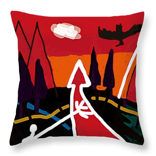 Dystopia Throw Pillow featuring the painting Dystopian Nite by Paul Sutcliffe