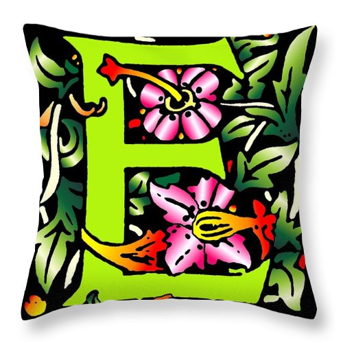 Alphabet Throw Pillow featuring the digital art E In Green by Kathleen Sepulveda
