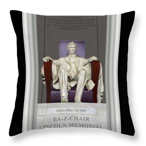 Lincoln Memorial Throw Pillow featuring the photograph Ea-z-chair Lincoln Memorial by Mike McGlothlen