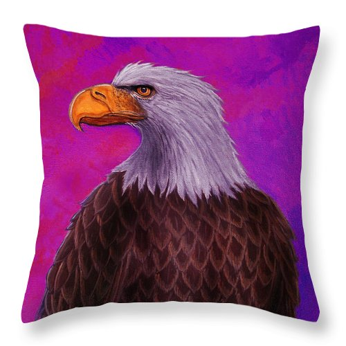 Eagle Throw Pillow featuring the painting Eagle Crimson Skies by Nick Gustafson
