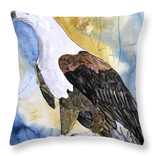 Realistic Throw Pillow featuring the painting Eagle by Derek Mccrea