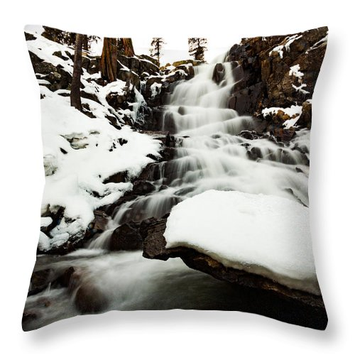 Landscape Throw Pillow featuring the photograph Eagle Falls Raging On Ice by Mike Herron