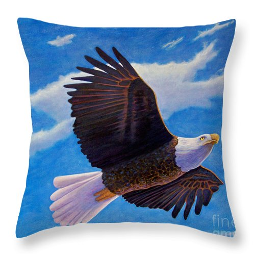 Eagle Throw Pillow featuring the painting Eagle Heart II by Brian Commerford