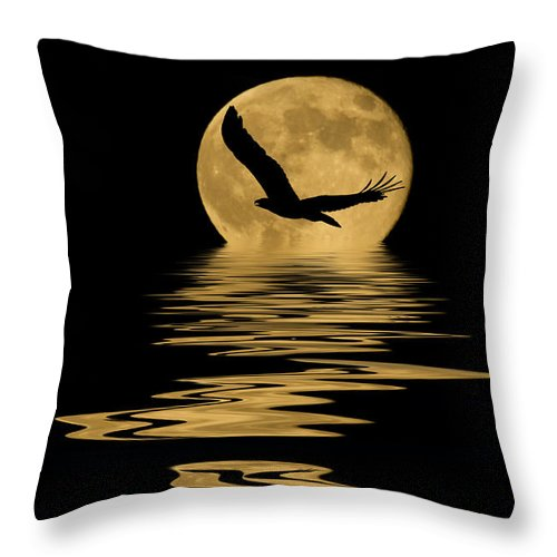 Bald Eagle Throw Pillow featuring the mixed media Eagle In The Moonlight by Shane Bechler