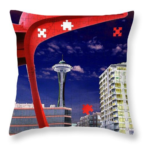 Seattle Throw Pillow featuring the digital art Eagle Needle by Tim Allen