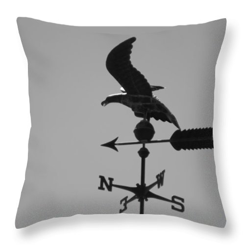 Weather Vein Throw Pillow featuring the photograph Eagle on Weathervane in Black and White by Colleen Cornelius
