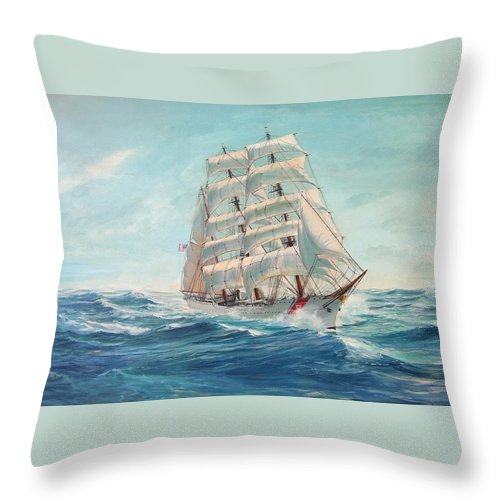 Coast Guard Training Ship - Eagle Newport Throw Pillow featuring the painting Sailing Eagle by Perry's Fine Art
