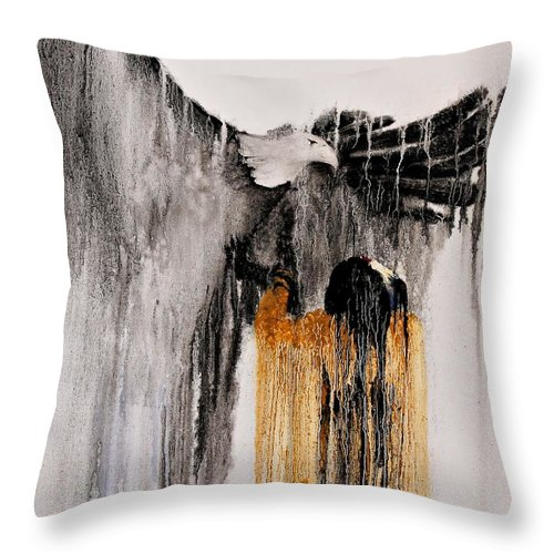 Natives Throw Pillow featuring the painting Eagle Spirit by Patrick Trotter