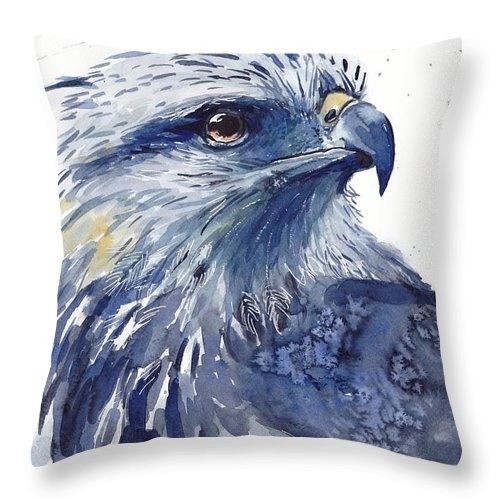 Pigeons Throw Pillow featuring the painting Eagle Watercolor by Suzann Sines