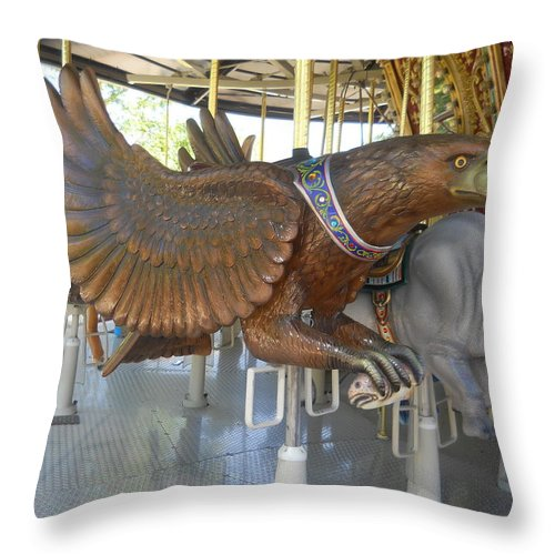 Eagle With Fish Throw Pillow featuring the photograph Eagle With Fish on Carousel by Colleen Cornelius