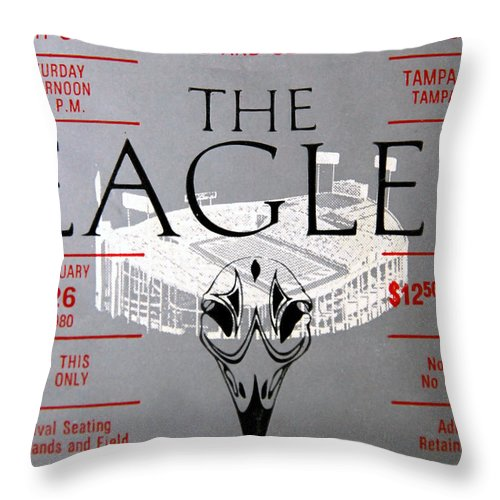 Eagles 1980 Concert Ticket Throw Pillow featuring the photograph Eagles Concert Ticket 1980 by David Lee Thompson